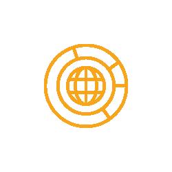 Erdkugel mit Kreisen umrandet icon