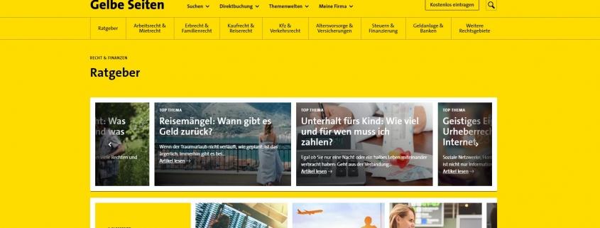 Unverzichtbar für den Alltag: Die optimierten Online-Ratgeber von Gelbe Seiten
