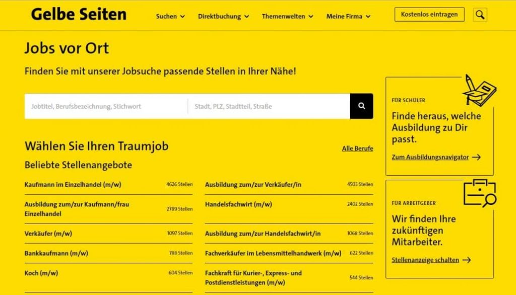 Gelbe Seiten Internetpräsenz