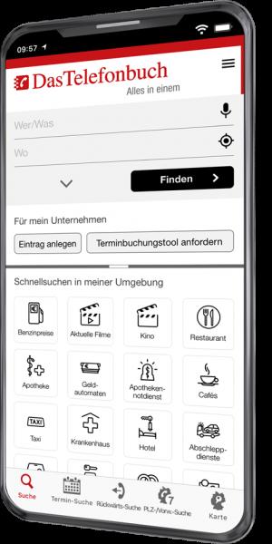 Smartphone mit App Das Telefonbuch